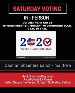 Flyer about Saturday voting