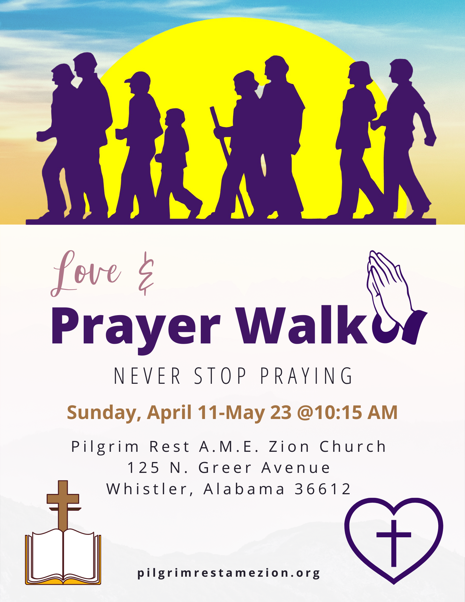 purple and gold prayer walk flyer